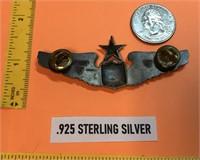 """WW2 .925 STERLING SILVER PILOTS WINGS PIN 3"""" WIDE"""