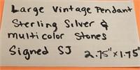 LARGE VINTAGE PENDANT .925 STERLING SILVER &