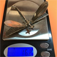 D - VINTAGE STERLING SILVER DRAGONFLY PIN/BROOCH
