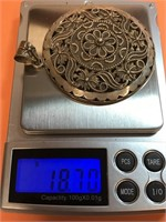 """LARGE .925 STERLING SILVER PENDANT 2.25"""" 18.70G"""