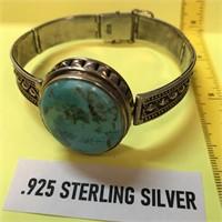 D - STERLING SILVER & TURQUOISE BRACELET
