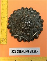 """D - LARGE ANTIQUE STELING SILVER PIN BROOCH 2.5"""""""