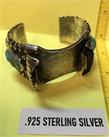 OLD PAWN NATIVE AMERICAN STERLING SILVER/TURQUOISE