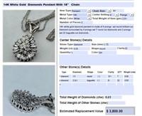 14KT WHITE GOLD .61CTS DIAMOND PENDANT