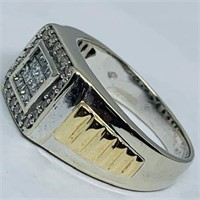 10KT WHITE GOLD .85CTS MENS DIAMOND RING