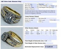 14KT YELLOW GOLD 1.72CTS DIAMOND RING FEATURES