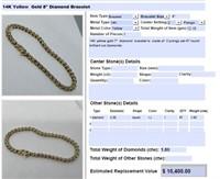 14KT YELLOW GOLD 1.80CTS DIAMOND BRACELET