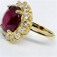 14KT YELLOW GOLD 9.06CTS RUBY AND 1.30CTS