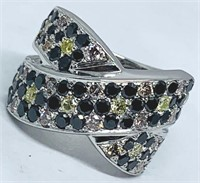 14KT WHITE GOLD 1.15CTS MULTI COLOR DIAMOND RING