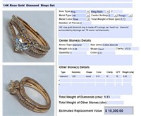 14KT ROSE GOLD 1.13CTS DIAMOND RING SET FEATURES