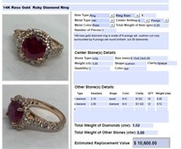 14KT ROSE GOLD 3.00CTS RUBY AND 1.02CTS DIA.