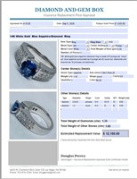14KT WHITE GOLD 1.63CTS SAPPHIRE AND 1.30CTS DIA.