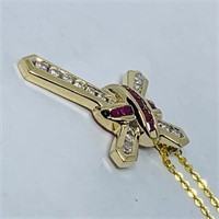 14KT YELLOW GOLD .55CTS RUBY& .35CTS DIAMOND
