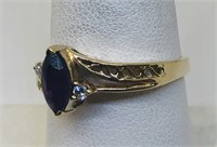 14KT YELLOW GOLD AMETHYST AND DIAMOND RING 2.70