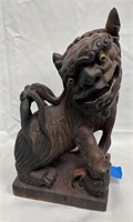 "ANTIQUE ASIAN FOO DOG - HANDCARVED 12"" TALL"