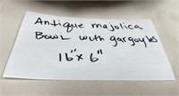 """ANTIQUE MAJOLICA BOWL WITH GARGOYLES 16"""" X 6"""""""