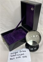 ANTIQUE FORTUNE TELLERS CRYSTALL BALL WITH CASE