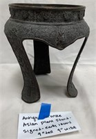 ANTIQUE BRONZE ASIAN PLANT STAND - SIGNED EARLY