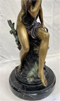 VINTAGE BRONZE FAIRY SCULPTURE ON MARBLE BASE
