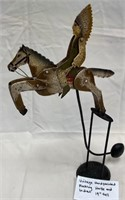 VINTAGE HANDPAINTED ROCKING HORSE AND INDIAN