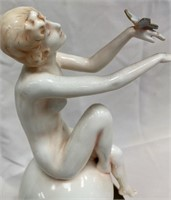 ANTIQUE PORCELAIN NUDE WOMAN WITH STAND