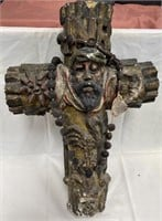 VERY OLD ANTIQUE CROSS - HAND CARVED WITH FIGURES