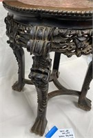 ANTIQUE CARVED CHINESE WOOD AND MARBLE TABLE