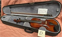 ANTIQUE VIOLIN WITH BOW IN CASE - LABEL READS: