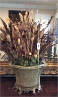 60 - STUNNING GREEN VASE W/ NEVERDIE FLOWERS