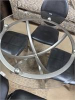 42 - NICE GLASS TOP METAL TABLE W/CHAIRS SET