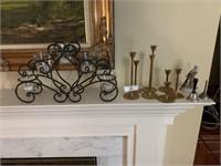 Candle Holders, 2 Bells & Lefton Bird