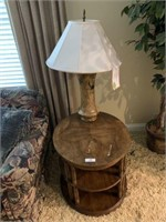 Round Lamp Table and Lamp