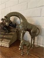 4 Brass Giraffes & Fiddler on the Roof Figurine