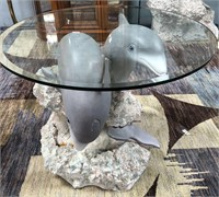 54 - STUNNING DOLPHINE ROUND ACCENT TABLE