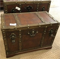 60 - PAIR OF STUNNING SMALL STEAMER TRUNKS