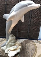 54 - STUNNING LARGE DOLPHIN STATUE WITH LAMP BASE