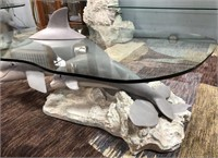 54 - CUTE DOLPHIN GLASS TOP COFFEE TABLE