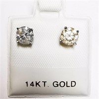 14K White Gold Diamond(1.05ct)  Earrings (~weight
