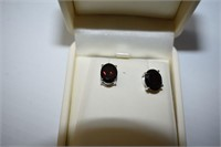 Rhodium Plated St.Silver Garnet(3ct)  Earrings