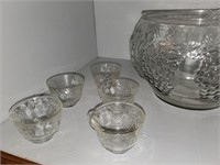 Glass Punch Bowl & Cups