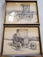 169 - SET OF 2 SIGNED  CLASSIC CARS & BUGGY PRINTS