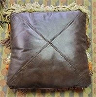 UNIQUE SET OF 4 LEATHER BACKED ACCENT PILLOWS