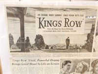"""Kings Row"" Movie Advertisement, Framed"