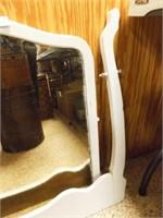 White Painted Wood Mirror, Hanging Frame