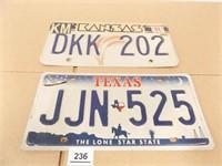Kansas, Texas License Plates (2)