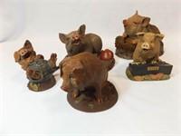 Tim Wolfe Pig Figurines (5)