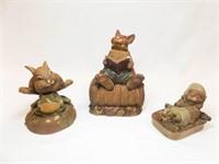 Tim Wolfe Rabbit Figurines (3)