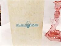 Dalzell Viking Pink Dolphin Candleholders (2)