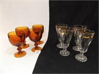 Stemware - Amber (4), Clear w/ Trim (4)