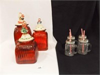 Holiday Canisters (3), Candy cane Straw Cups (4)